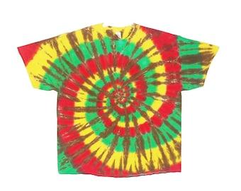 Tie Dye Electric Rasta Spiral Psychedelic Tye Dye short sleeve Adult T-shirt small medium large XL 2X 3X 4X  5x 6x hippie art Grateful Dead