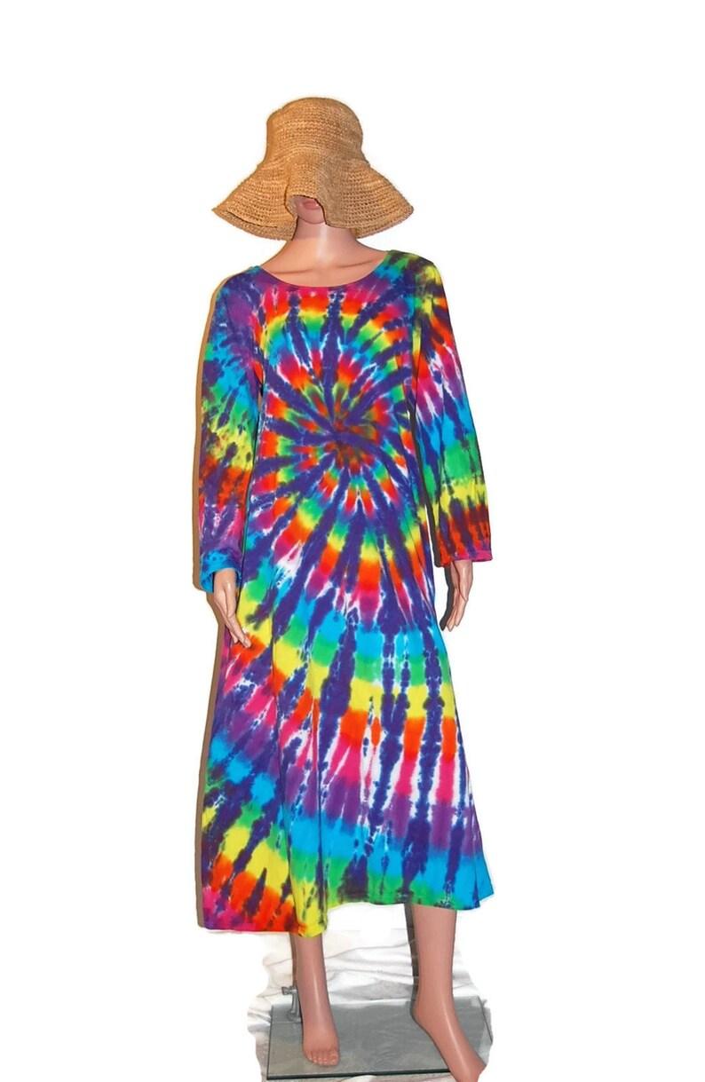 TIE DYE Dress Double Neon Rainbow Grateful Dead Tye Dye Long Sleeve Women/'s Dress hippie gypsy boho sm med lg xl 2X 3X