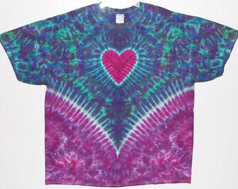 Tie Dye Shirt Heart V Blotter Adult T-Shirt small medium large XL 2X 3X 4X 5X 6X Grateful Dead psychedelic short sleeve Tye Dye hippie art