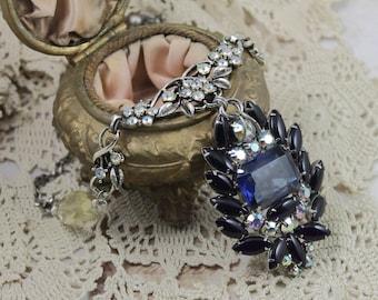 Vintage Assemblage Large Brooch Pendant Necklace, Vintage Assemblage Statement Necklace, Vintage Cobalt Rhinestone Necklace,