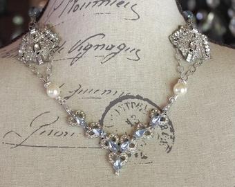 Art Deco Bridal Necklace, Art Deco Assemblage Necklace, Blue Crystal and Pearl Deco Necklace, Blue Wedding Necklace, Wedding Day Necklace