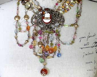 Vintage Assemblage MultiStrand Statement Bib Necklace, Beaded Fringe Assemblage Necklace, Cameo Necklace, Beaded Swag Necklace