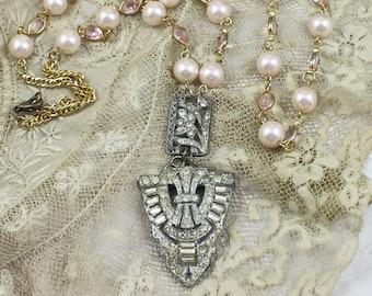 Art Deco Pale Pink 2 pc Bridal Necklace, Pale Pink 2 pc Assemblage Necklace, Art Deco Assemblage Necklace, Art Deco 2 pc Necklace Set