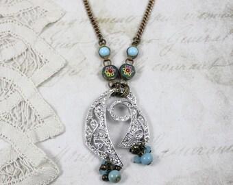Assemblage Rhinestone Pendant Necklace, Italian Micro Mosaic Links, Paste Rhinestone Pendant, Victorian Watch Fob Chain, By Boutique Bijou