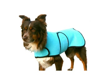 Dog Cool Coat, custom dog cooling coat, dog chamois coat with tummy strap.