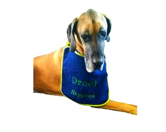 Dog Drool Bib, custom dog bib, terry cloth dog bib, drool bib, absorbent dog bib, embroidered dog bib