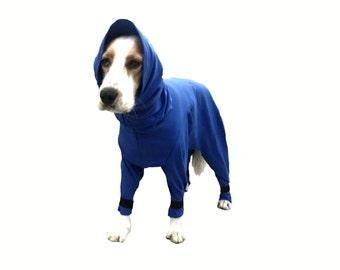 Dog Exercise suit, custom dog suit, dog grooming, spandura dog suit, keeps dog coat clean.