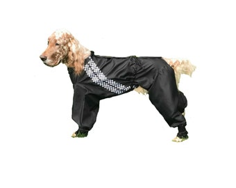 Dog Peecoat, Grooming Pajamas, custom dog suit, dog grooming suit, made of breathable ripstop nylon for keeping coat clean.
