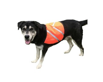 Dog Safety Vest, custom dog vest, reflective dog vest, made of high visibility orange nylon with cotton flannel lining and reflective strips
