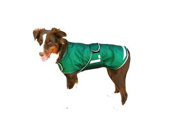 Extreme Winter Dog Coat, tough dog coat, custom dog coat, dog coat with reflective strips, tummy panel, diamond ripstop dog coat