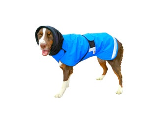 Ultra Winter Dog Coat with turtleneck/snood and tummy panel and reflective strips for safety, custom dog coat with tummy panel for your dog