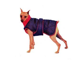 Quilted Winter Dog Coat, Black dog coat, Custom dog coat, winter dog coat, quilted nylon, tummy panel, fleece turtleneck/snood