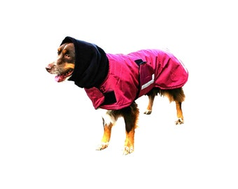 Extreme Winter Dog Coat, Tough dog coat, custom dog coat, diamond ripstop dog coat with turtleneck/snood, reflective strips