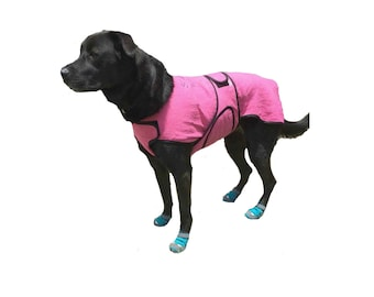 Dog Cool Coat, custom dog cool coat, dog chamois coat with tummy cooler for extra cooling, dog coat