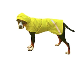 Dog Raincoat, Unlined Dog Raincoat, Hooded Dog Raincoat, dog coat with tummy panel and reflective strips,  unlined, lightweight dog raincoat