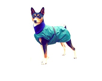 Winter Dog Coat, custom dog coat, waterproof dog coat, dog coat made with tummy panel and fleece turtleneck, dog snood