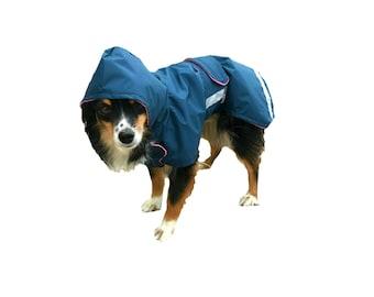 Dog Raincoat, Hooded Dog Raincoat, dog coat with reflective strips, Ripstop Nylon dog coat, lightweight dog coat with tummy panel