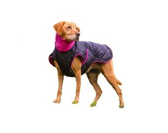 Quilted Winter Dog Coat, Black dog coat, Custom dog coat, winter dog coat with quilted nylon, tummy panel, buckle,  fleece turtleneck/snood