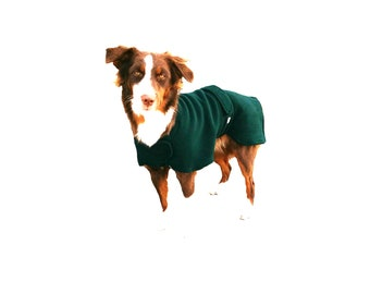 Ultra Fleece Dog Jacket, custom dog coat, ultra fleece dog coat, adjustable closure at neck and tummy panel to keep  your pup warm