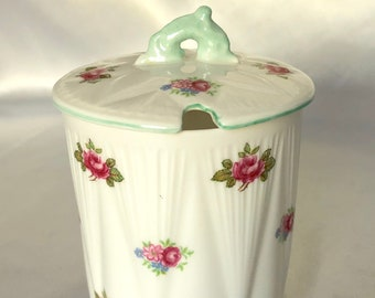 Vintage Shelley England Rosebud Pattern Covered Jam//Jelly Jar