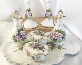 Antique Limoges France porcelain dresser vanity set with purple pansies