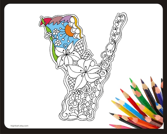 Letter Y Lilly Style Alphabet Adult Coloring Page Etsy