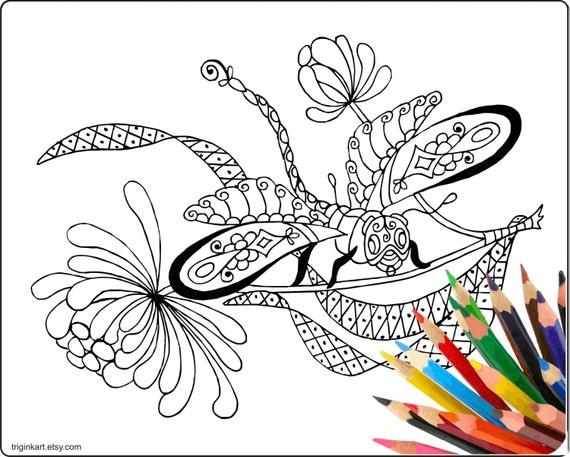 Página de adultos para colorear de libelula   Etsy