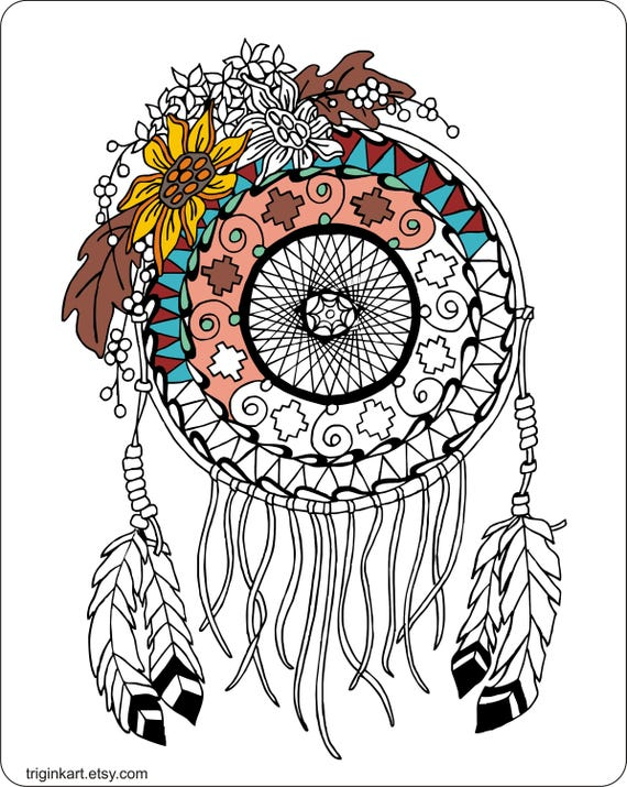 Sunflower Dream Catcher Adult Coloring Page Etsy