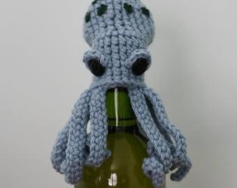 Drunken Octopus, Wine Bottle Topper, Adult, Gift, Men, Women, Bar, Liquor, Man Cave, Kitchen, Accessories, Crochet Octopus, Party, Holiday