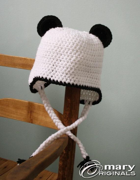 Panda-Bär Hut Ear Flap Hut Panda-Bär häkeln Beanie jungen | Etsy