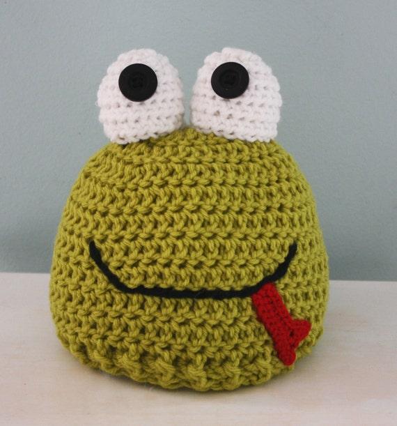 Frog Hat Froggy Hat Crochet Beanie Halloween Costume  d355a9ff8e