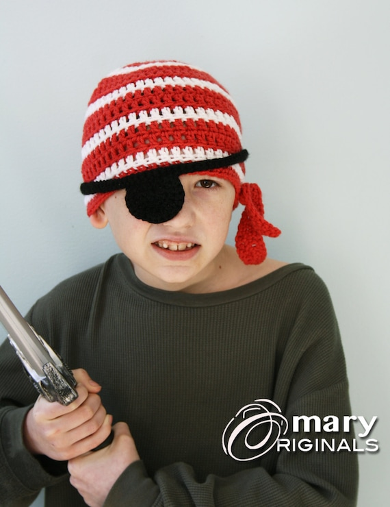 eab8b46dc Pirate Hat Crochet Beanie Pirate Eye Patch Halloween | Etsy