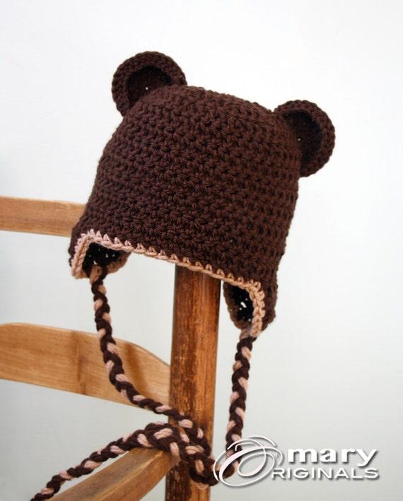 Braunbär Ear Flap Hut Bear Ear Flap Hut Tier Hut häkeln | Etsy