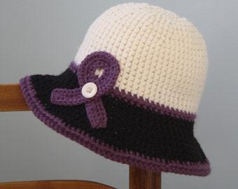 Purple Awareness Ribbon, Epilepsy Awareness Cloche, Lupus Awareness Cloche, Crochet hat, Spring Hat, Winter Hat, Women's Clothing