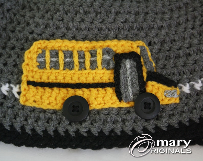 b94a23b27ed School Bus Hat Bus Hat Crochet Bus Crochet Beanie Boys