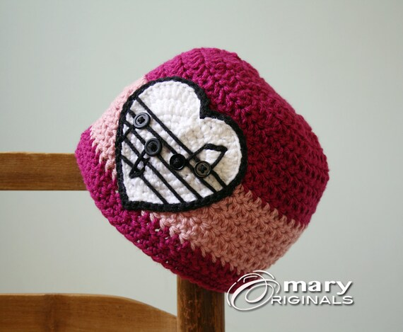 Musikalisches Herz Mädchenbekleidung Hut Mütze Häkeln Rosa Etsy