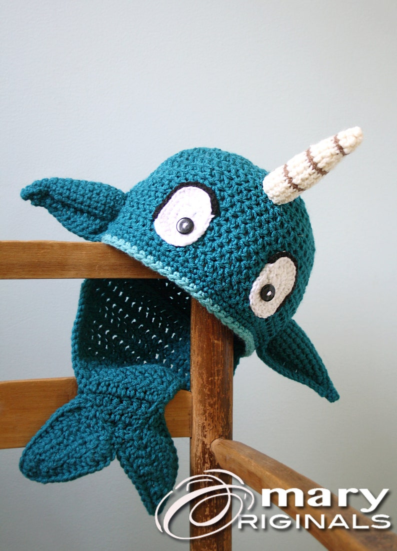 829207a6088 Narwhal Hat Crochet Beanie Whale Fish Winter Hat