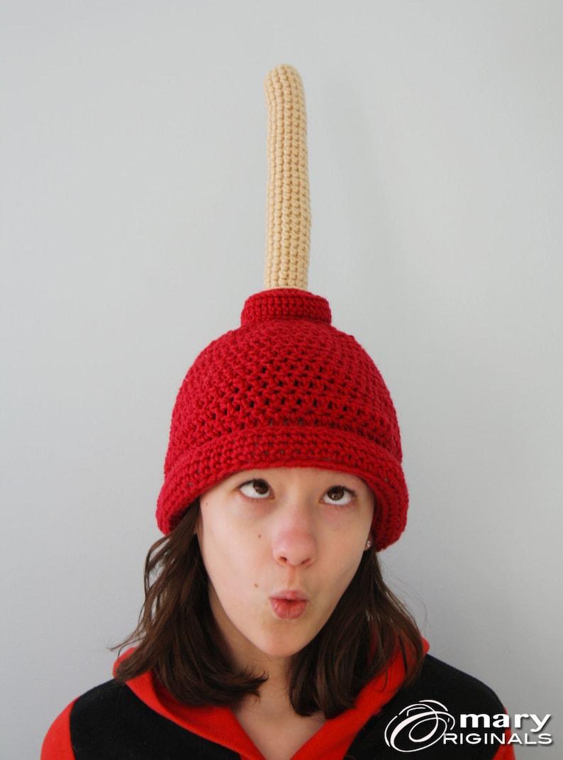 9ffc0208e20db Plunger Hat Gag Gift Funny Hat Toilet Hat Winter Hat