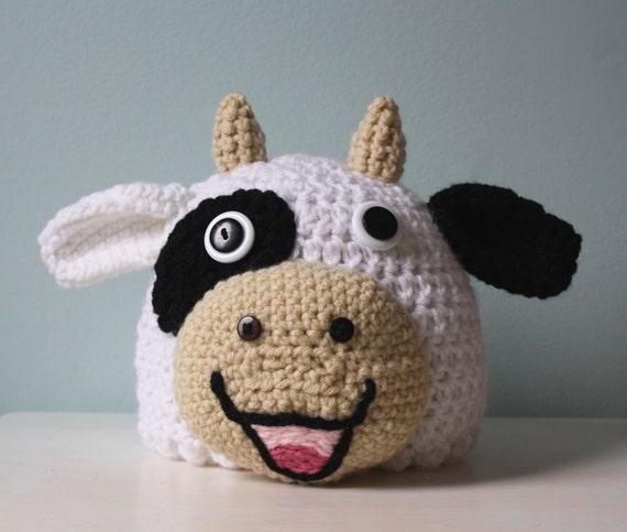6c16b008835 Cow Hat Crochet Beanie Winter Hat Crochet Cow Halloween
