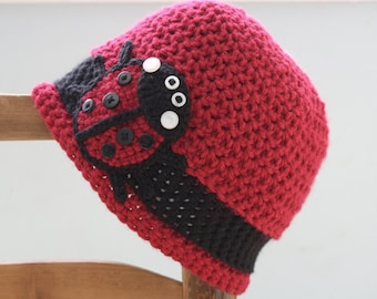 Ladybug Hat, Bug Hat, Crochet Beanie, Red Winter Hat, Girls, Women, Holiday Gift, Accessories, Photography Prop, Crochet Ladybug, Fall Hat