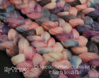Advanced Marriage Counseling on Hand Dyed Polwarth Tussah Flax Combed Top - 4 oz