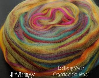 Lollipop Swirl Signature Blend - Corriedale Combed Top - 4 oz