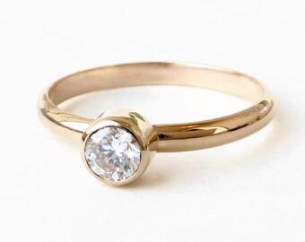14k  Gold Birthstone Ring - Stacking Band 5mm Faceted Gemstone -  Stackable Ring - Gemstone Ring -14k Gold  - Solid Gold Ring