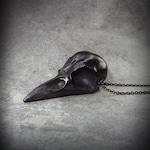 "Black Crow Skull  - Crow Necklace 2.5"" Skull Jewelry Satanic Gift Black Friday"