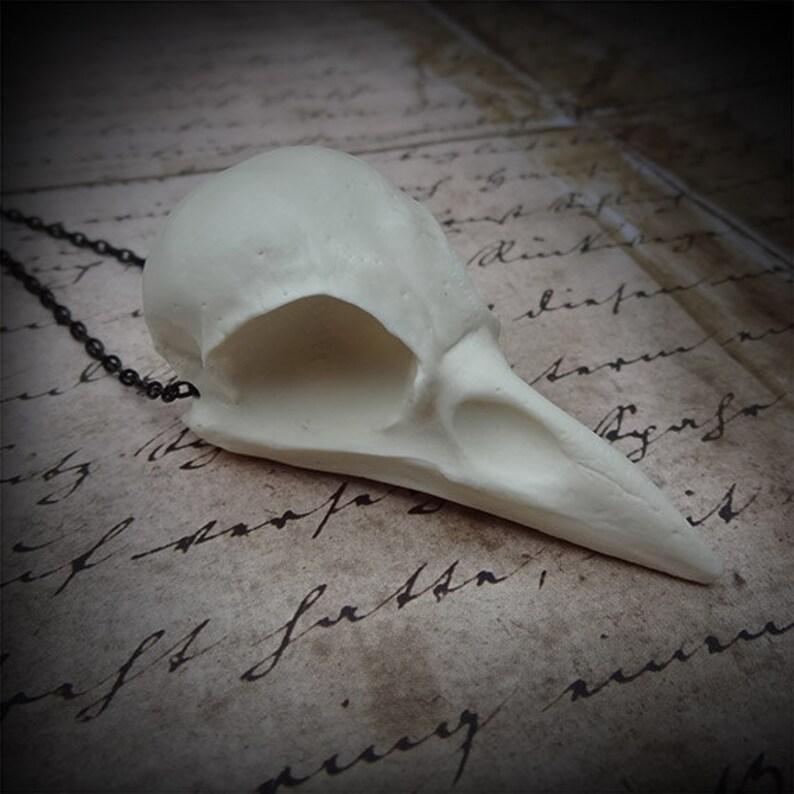 Bird Skull Necklace Crow Pendant  Goth Gift Dark Tower image 0