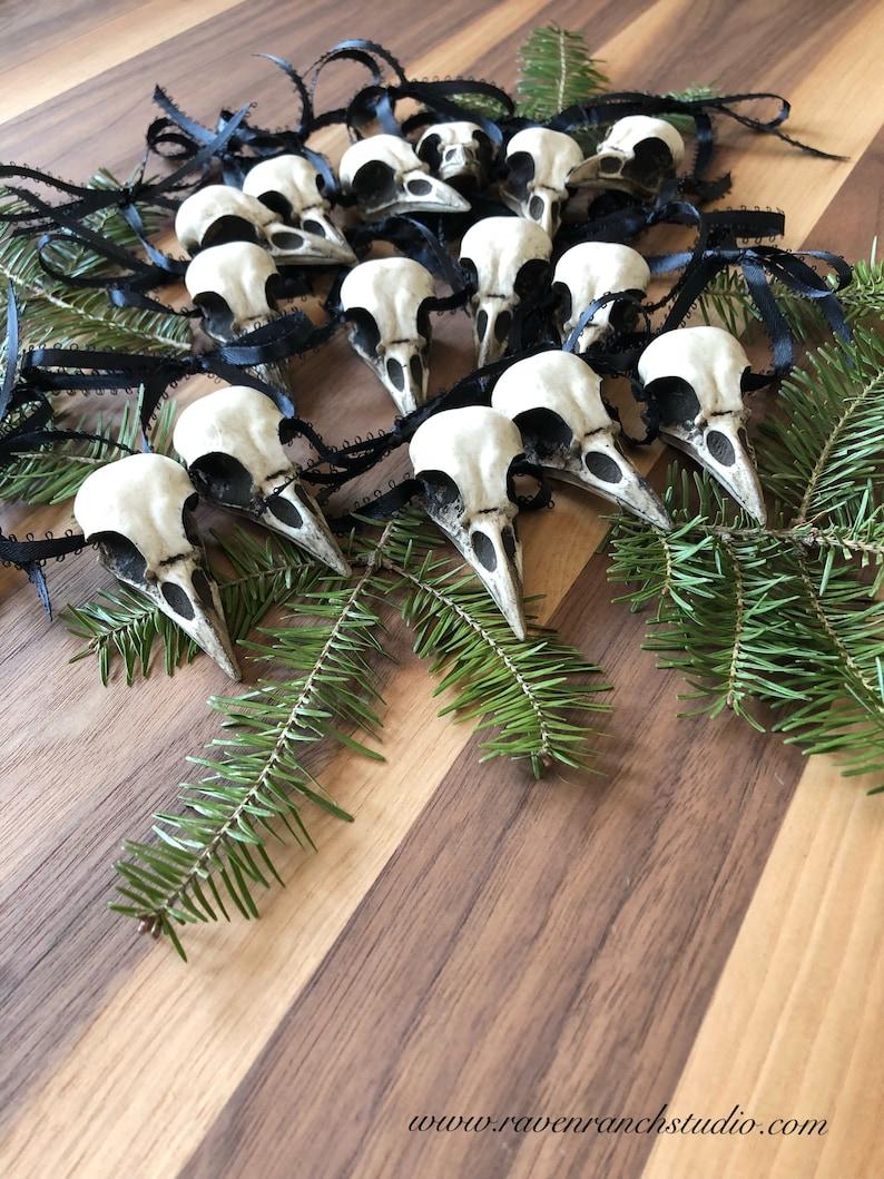 Crow Christmas Tree Ornaments 15 Faux Crow Skull Christmas image 0