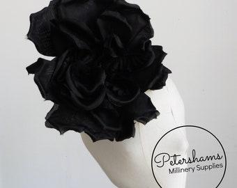 bfbf42e80e5 Silk  Lucinda  Extra Large 20cm Rose Millinery Fascinator Flower Hat Mount  - Black