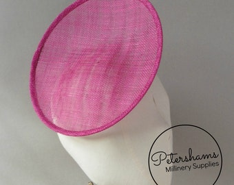 Rounded Scoop 21cm Sinamay Fascinator Hat Base for Millinery   Hat Making -  Cerise d1d4c80749f