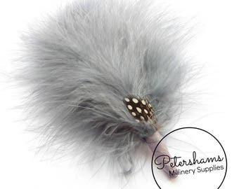 Guinea Fowl and Marabou Millinery Hat Mount for Fascinators & Men's Hats - Grey