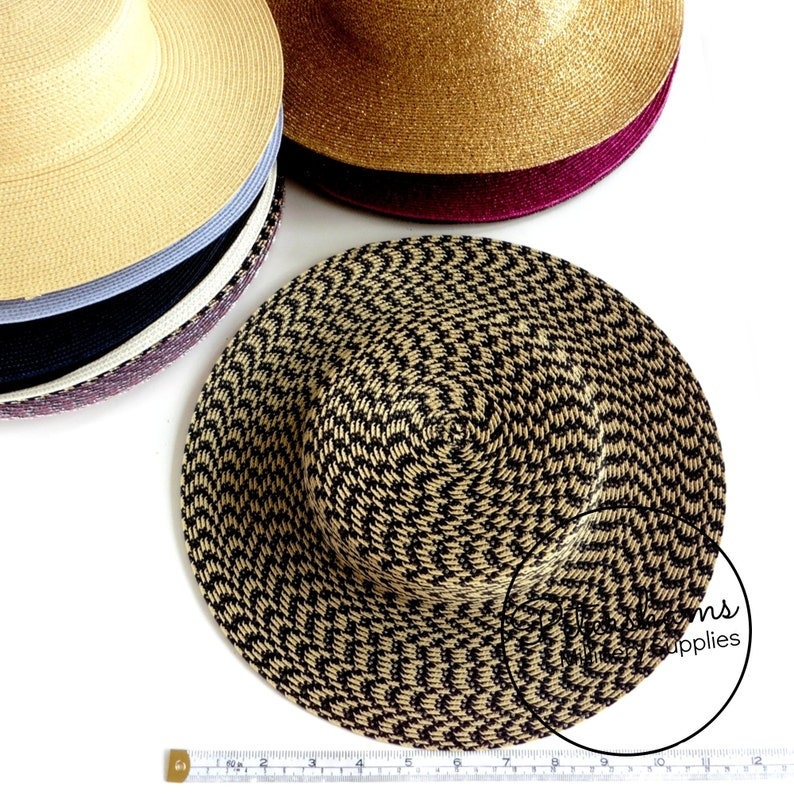 Small Brim Polybraid Boater Fascinator Hat Base for Millinery /& Hat Making Black and Straw